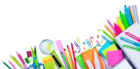 office supplies: Border School Supplies - Top View With Objects Isolated On White