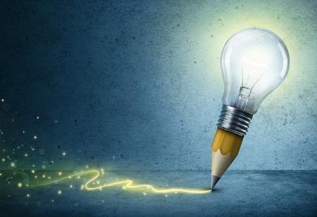 Bombilla del dibujo de lápiz - concepto de Idea Creativa