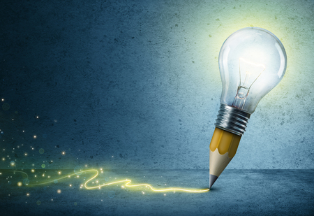 creativity: Light-Bulb Pencil Drawing - Creative Idea Concept Stock Photo