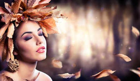 fashion and beauty: Beauty Fashion Girl In Autumnal Forest Stock Photo