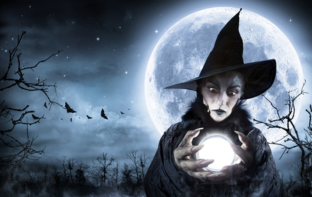 Halloween Witch Clairvoyant In A Spooky Night Stock Photo