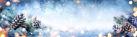 Christmas Decoration Banner - Snowy Pine Cones On Fir Branch With Lights Imagens - 63826328