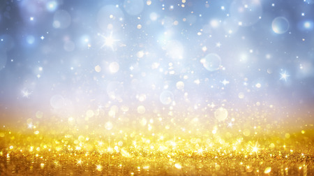 Shining Christmas - Of Golden Shimmer Glitter In Heavenly Sky Stock Photo