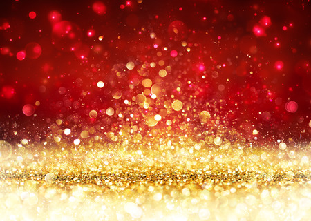 red abstract: Christmas Background - Golden Glitter On Shiny Red