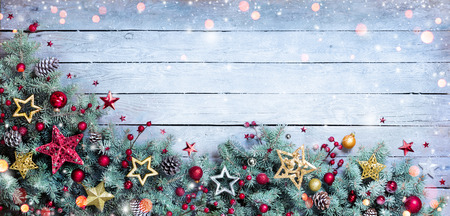 Christmas Border - Fir Branches With Baubles On Vintage Plank
