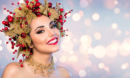 beauty woman: Christmas Woman - Fashion Model With Golden And Red Hairstyle And Makeup
