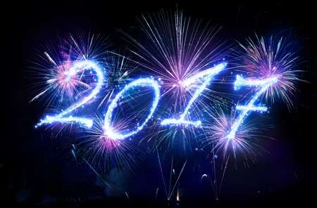exploding: Happy New Year 2017 - Written With Fireworks Stock Photo