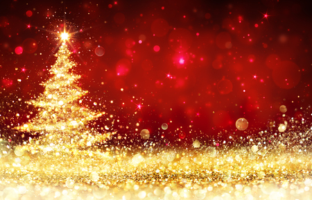Shining Christmas Tree - Golden sparkling Glitter In The Red Background