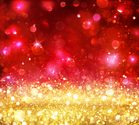 christmas backdrop: Christmas Bokeh - Golden Glitter With Shining Red Backdrop