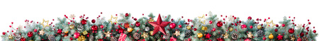 Decorations Of Fir Branches And Baubles On White - Christmas Border Standard-Bild