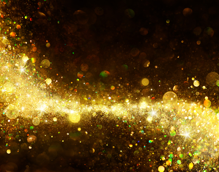 celebration background: Shiny Golden Trail On Black - Glittering Dust