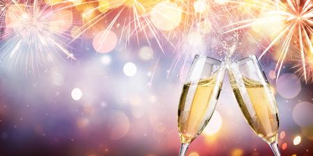 Gelukwens Met Champagne - Fluiten en toast met Vuurwerk