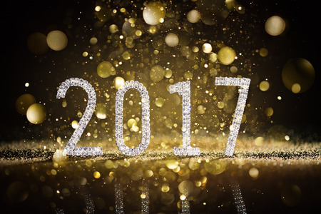 Happy New Year 2017 - Numbers And Diamonds Glittering Banque d'images