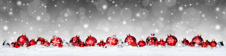 christmas red: Christmas Banner - Red Spheres On Snow