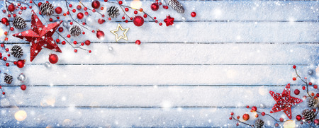 Christmas Ornament On Wooden Background With Snowflakes 写真素材