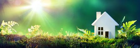 Eco Friendly dům - domácí papír na mechu v zahradě Reklamní fotografie