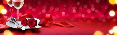 Romantic Dinner For Lovely Valentines Day Zdjęcie Seryjne