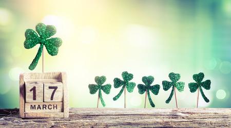 17th: Saint Patricks Day - Calendar With Green Clovers