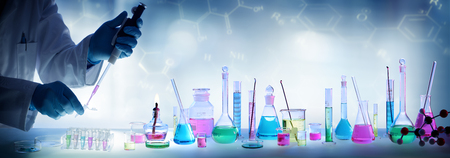 pharmacy equipment: Analysis Laboratory - Scientist With Pipette And Beaker - Chemical Equipment
