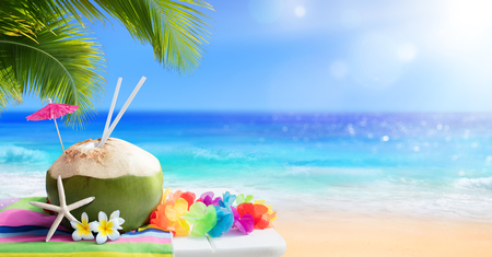 tropical drink: Fresh Coconut Drink In Tropical Beach