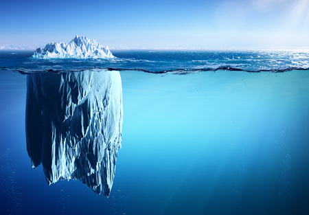Iceberg Floating On Sea - Appearance And Global Warming Concept