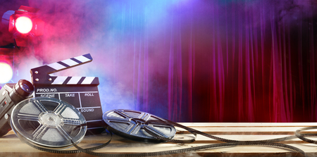Film movie Background - Clapperboard And Film Reels In The Theater