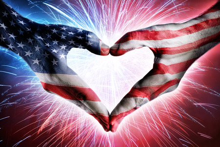 Love And Patriotism - Usa Flag On Heart Shaped Hands And Fireworks