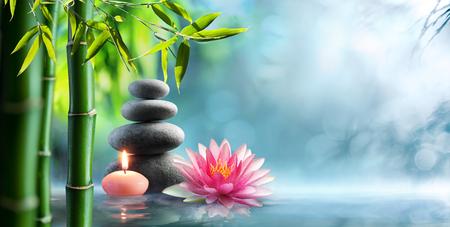 Spa - Terapia Alternativa Naturale Con Pietre Di Massaggio E Waterlily In Acqua Archivio Fotografico - 80863945