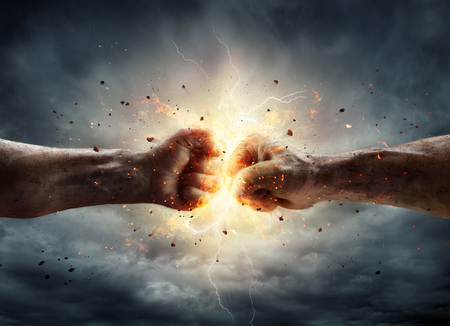 Conflict Concept - Two Fist In Impact