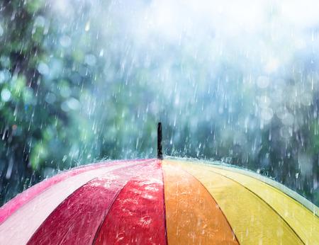 pluie sur parapluie arc-en-ciel