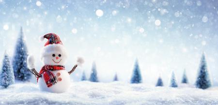 Schneemann in der winterlichen Landschaft