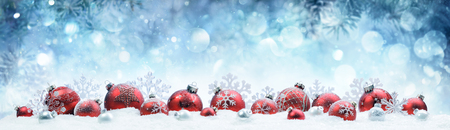Christmas - Decorated Red Balls And Snowflakes On Snow Stok Fotoğraf - 88216564