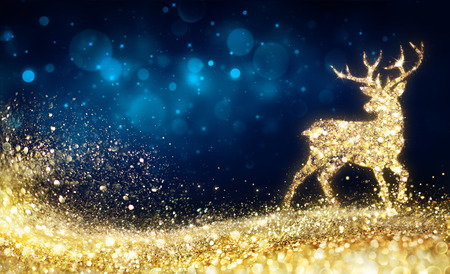 Christmas - Golden Reindeer In Abstract Night 免版税图像