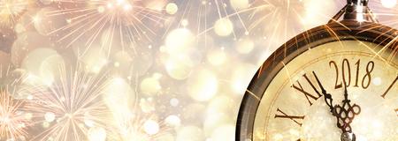 새해 2018 년 축하 다이얼 시계 스톡 콘텐츠