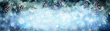 Wintry Banner - Snowy Fir Branches With Snowfall Stok Fotoğraf - 89616037