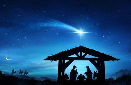 Kerststal Met De Heilige Familie In Stal
