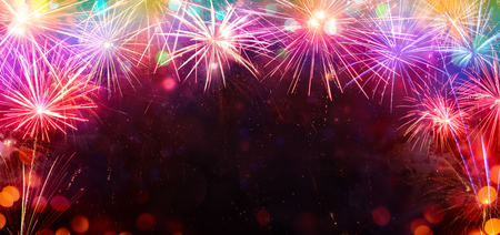 Celebration With Frame Of Colorful Fireworks