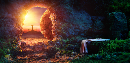Crucifixion At Sunrise - Empty Tomb With Shroud - Resurrection Of Jesus Christ 스톡 콘텐츠 - 97061457