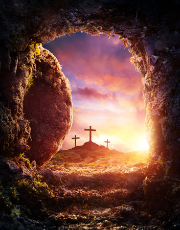 Empty Tomb - Crucifixion And Resurrection Of Jesus Christ Stok Fotoğraf - 97199834
