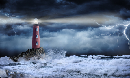 Lighthouse In Stormy Landscape - Leader And Vision Concept