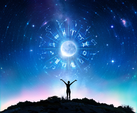 Woman Consulting The Stars - Zodiac Signs In The Sky Imagens - 101150924