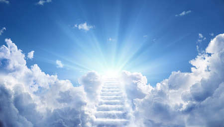 Stairway Leading Up To Heavenly Sky Toward The Light Stock Photo