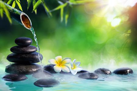 Plumeria Flowers In Japanese Fountain With Stones And Bamboo Massage - Zen Garden Archivio Fotografico