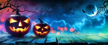 Halloween Pumpkins Glowing In Fantasy Night
