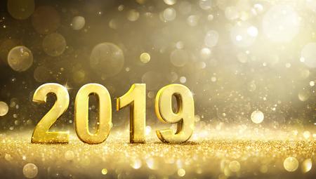 2019 - New Year decoration - Greeting card Archivio Fotografico - 109803513