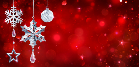 Silver Baubles Hanging In Red Shiny Background Archivio Fotografico - 112126484