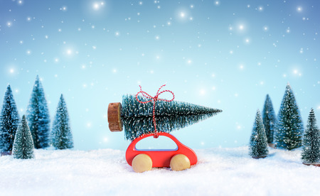 Incoming Cristmas Concept - Car Carrying A Christmas Tree In Snowy Landscape Archivio Fotografico - 112658747