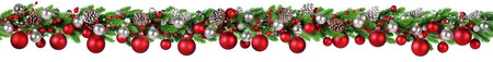 Christmas Border - Red And Silver Ball Hanging In Fir Garland