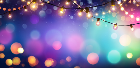 Party - Colorful Bokeh And Retro String Lights In Festive Background Archivio Fotografico - 114447962