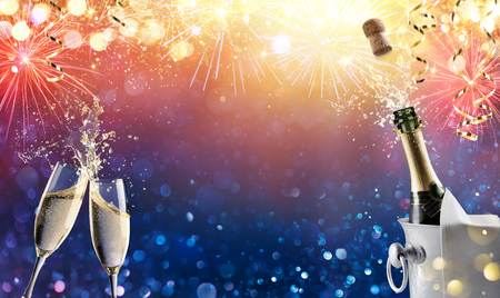 Celebration Toast With Champagne And Fireworks Archivio Fotografico - 114447964